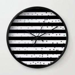 Black stripe silver dot pattern Wall Clock
