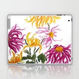 yellow and purple chrysanthemum watercolor Laptop & iPad Skin