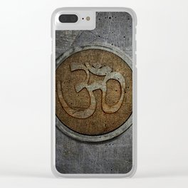 The sound of the Universe. Gold Ohm Sign On Stone Clear iPhone Case