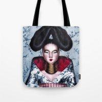 bjork Tote Bags featuring BJORK by Denda Reloaded