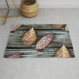 Autumn Leaves with Raindrops Rug