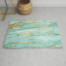 Stylish Mint & Gold Abstract Marbleized Paint  Rug