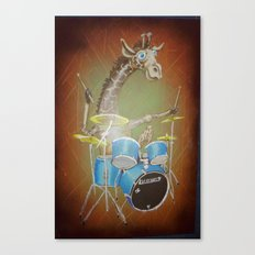 Giraffe Playing Drums Canvas Print