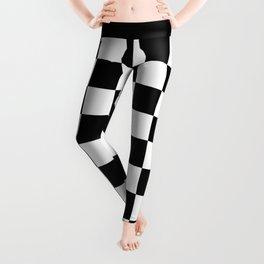 Vintage Chessboard & Checkers - Black & White Leggings