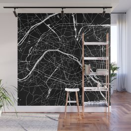 Paris France Minimal Street Map - Black on White Wall Mural