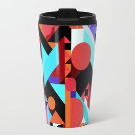 CRAZY CHAOS ABSTRACT GEOMETRIC SHAPES PATTERN (ORANGE RED WHITE BLACK BLUES) Travel Mug