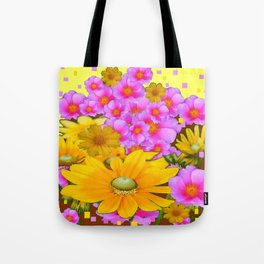 MODERN RAZZLE-DAZZLE PINK-YELLOW FLORALS Tote Bag