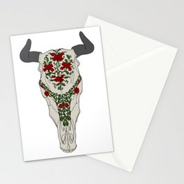 Cow skull with floral ornament Stationery Cards