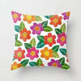 Big Bold Textured Flowers (pattern) Throw Pillow