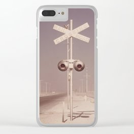White dust on railroad crossing Clear iPhone Case