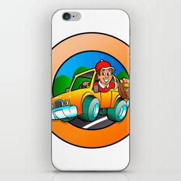 Cartoon man in delivery car iPhone Skin
