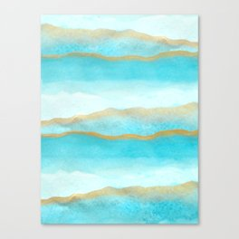 Gold and blue sea Canvas Print
