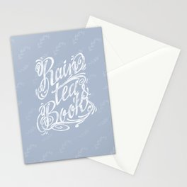 Rain, Tea & Books - White lettering only Stationery Cards