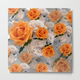 CORAL ROSES AND CHERRY BLOSSOMS Metal Print
