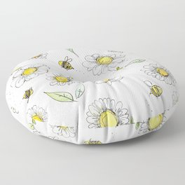 Bees and Daisies Floor Pillow