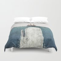 blue Duvet Covers featuring The Whale - vintage  by Terry Fan