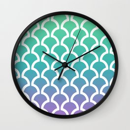 Classic Fan or Scallop Pattern 466 Green Blue and Lavender Wall Clock