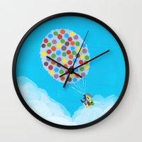 pixar Wall Clocks featuring Up - Disney/Pixar by Justine Shih