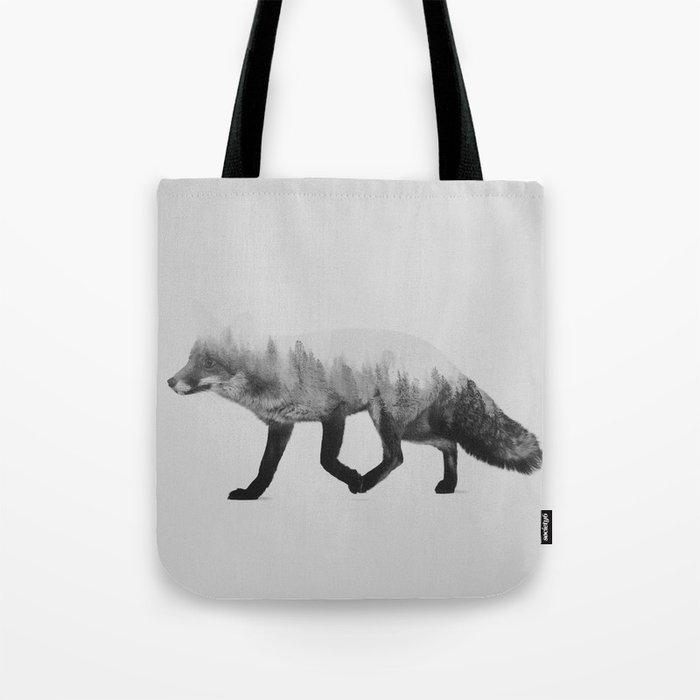 The Fox (black & white version) Tote Bag