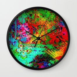 BUTTERFLY FEVER - Bold Rainbow Butterflies Fairy Garden Magical Bright Abstract Acrylic Painting Wall Clock