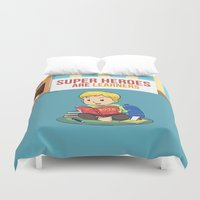 super heroes Duvet Covers featuring Super Heroes Are Learners by youngmindz