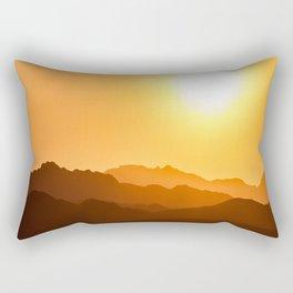 Orange Monochromatic Mountain Landscape Parallax Silhouette Yellow Orange Sunset Hues Rectangular Pillow