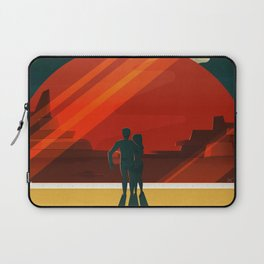 SpaceX Travel Poster: Phobos and Deimos, Moons of Mars Laptop Sleeve