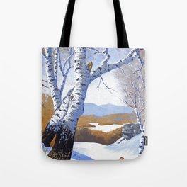 Winter birch valley Tote Bag
