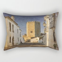 Castle and cobbled street, Portugal, Monsaraz Rectangular Pillow