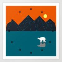 bear clock Art Print