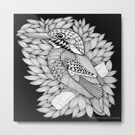 Zentangle Halcyon Black and White Illustration Metal Print