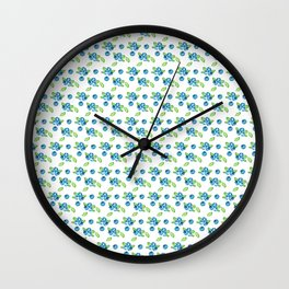 Blueberry Watercolour Pattern Wall Clock