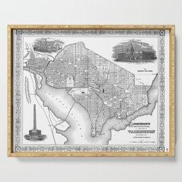 Vintage Map of Washington D.C. (1866) BW Serving Tray