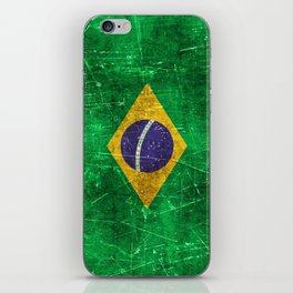 Vintage Aged and Scratched Brazilian Flag iPhone Skin