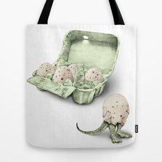 In which dinosaur eggs are hardly fit for human consumption  Tote Bag