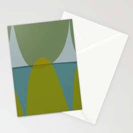 Green and Blue Eliptical Stationery Cards