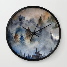 Watercolor abstract forest landscape Wall Clock