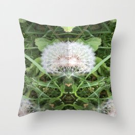 Green Bird (with Fascinator) Throw Pillow