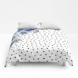 Boho Blue Flowers and Polka Dots Comforters