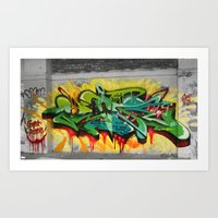 one piece Art Prints featuring As One graf piece  by Az One Graffiti