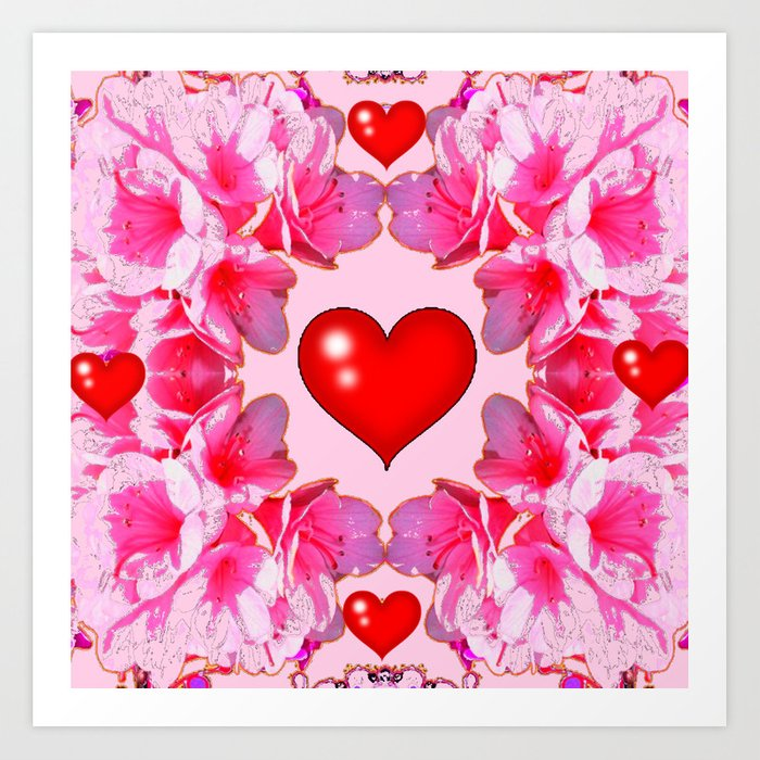 Red hearts art pink floral patterns art art print by sharlesart red hearts art pink floral patterns art art print mightylinksfo