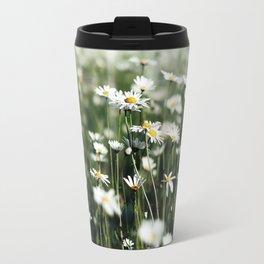 White Summer Daisies Flowers Travel Mug