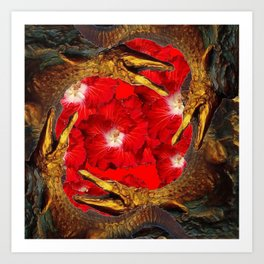 RED BLOODY HIBISCUS FLOWERS ALLIGATORS GOLD ART Art Print