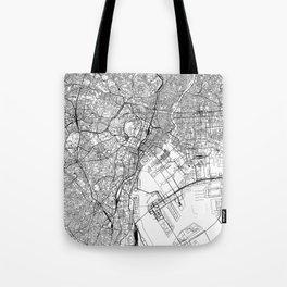 Tokyo White Map Tote Bag
