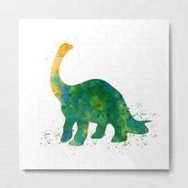 Watercolor Apatosaurus Dinosaur Wall Print Metal Print