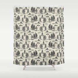 Black Alien Abduction Toile De Jouy Pattern Shower Curtain