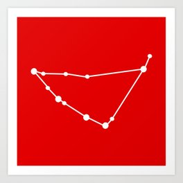 Capricorn (White & Red) Art Print