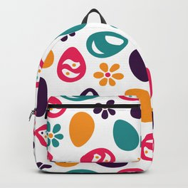 Easter eggs and flowers. Colorful Happy Easter pattern. Backpack