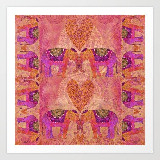 Elephants in Love heart illustration Art Print