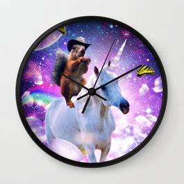 Cowboy Squirrel Riding Unicorn Wall Clock